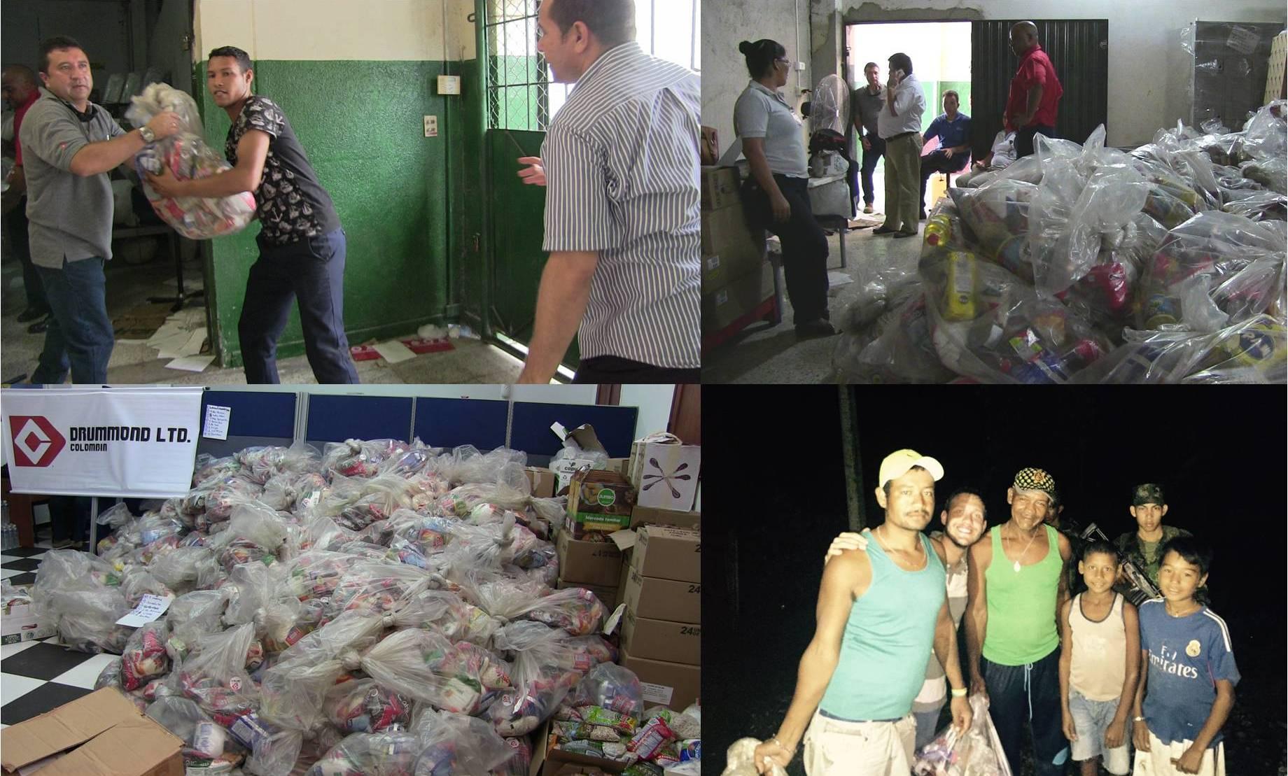 Luego de empacados los mercados fueron transportados hacia las comunidades y entregados a las familias damnificadas.