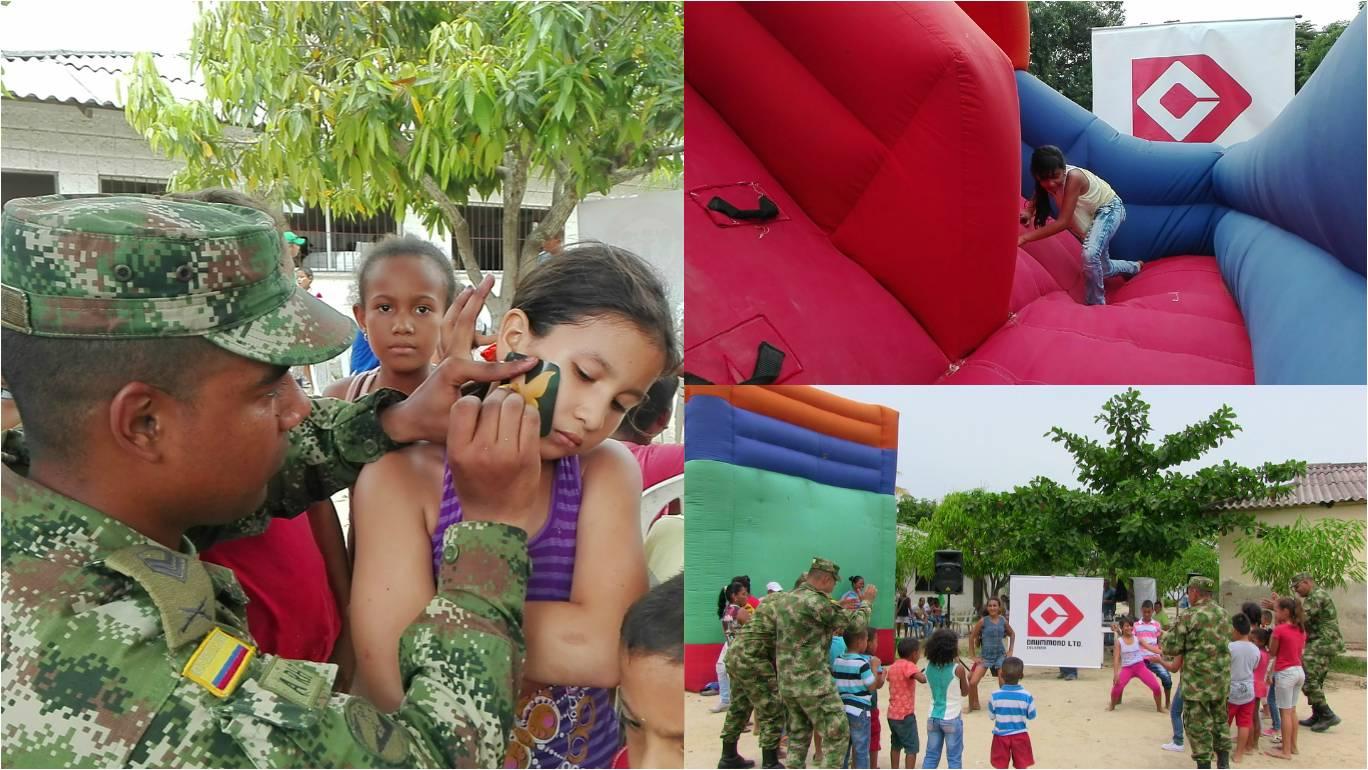 Los más pequeños disfrutaron de una jornada recreativa realizada por el Ejército Nacional.