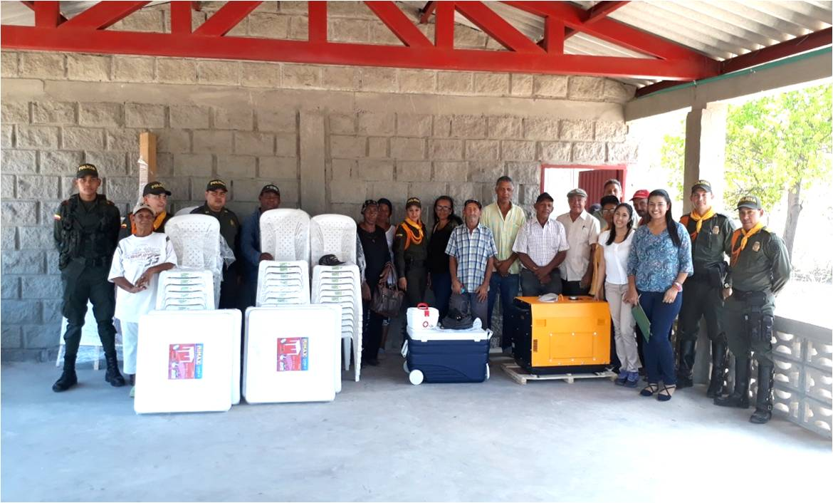 Drummond officials with residents of Trigo after the donation of equipment to the community hall.