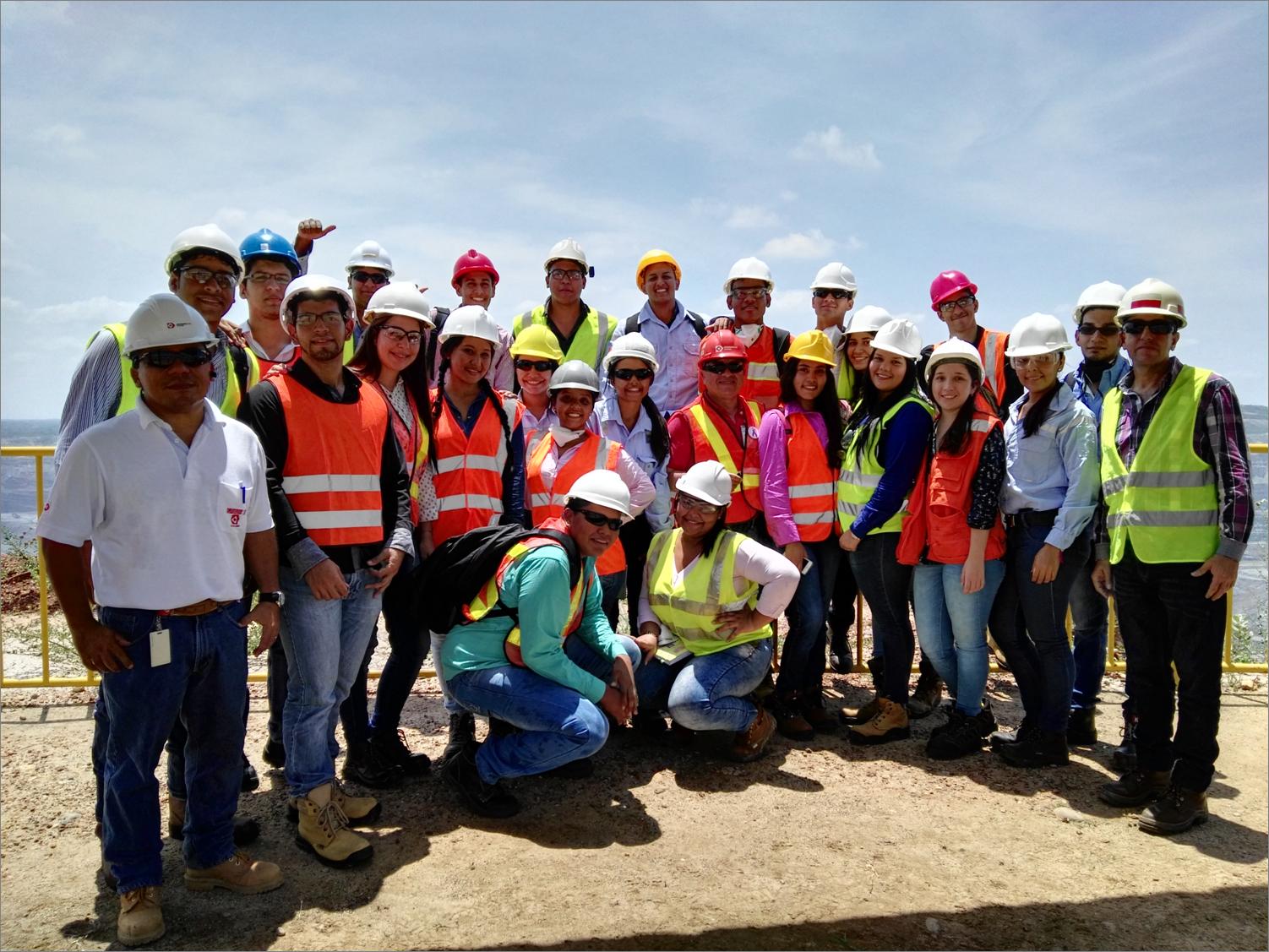 *Mining Engineering students from Fundacion Universitaria del Area Andina, Valledupar campus, are accompanied by Drummond Ltd.'s Communities Assistant, Leonardo Armenta, Professor Washington Roso, and Eulises Cardenas, Industrial Safety Director.