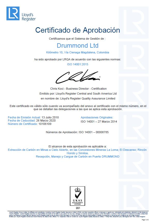 ISO 14001:2015 Environmental Certification for Drummond Ltd.\'s ...