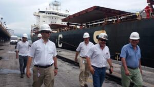 The visitors pictured during their tour of the Direct Loading System at Puerto Drummond.