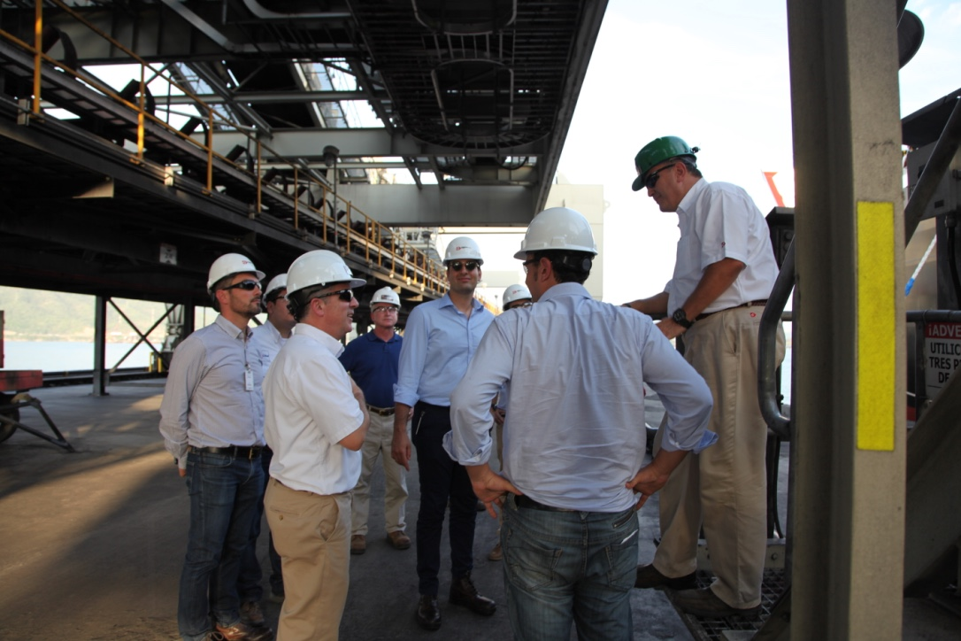 Executives of ENEL, a Drummond client, are pictured touring the direct loading pier.